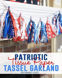 Patriotic Tissue Paper Tassel Garland - Landee See Landee Do holiday, tissu paper, tassel garland, paper tassel, parti