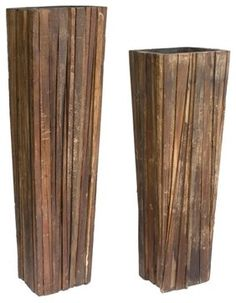 Ferpas Reclaimed Wood Planter Set - contemporary - indoor pots and planters - Rotsen Furniture