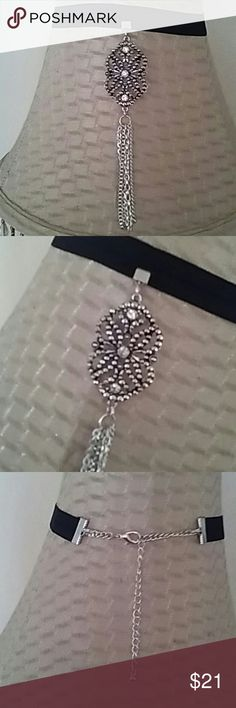 Handcrafted Tassel Choker Three large rhinestones on the pendant. Various chain's on the tassel. I made this for one lucky lady. Happy Holidays! Alicia Luck Jewelry Necklaces