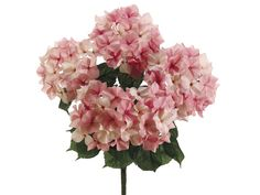 Artificial Hydrangea Bush in Pink | Silk Wedding Flower Bushes | Same Day Shipping $11.79 for 5 blooms ($2.36 each)