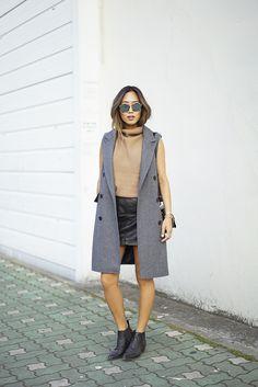 neutrals, ankle boots, leather skirt, coat vest