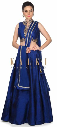 Buy this Navy blue lehenga in zari embroidered blouse only on Kalki