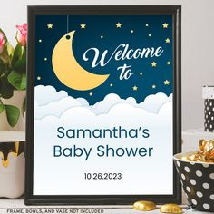 """Over the Moon Printable Welcome Sign, Baby or Bridal Shower, Birthday; 3 Sizes: 8""""x10"""", 11""""x14"""" and 16""""x20"""", Editable PDFs, Instant Download by StarStreamPrintables on Etsy Brunch Wedding, Party Wedding, Bridal Shower, Baby Shower, Golden Star, Over The Moon, Night Skies, As You Like, White Clouds"""