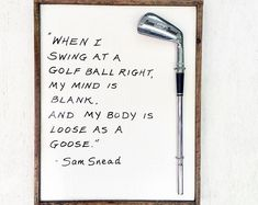 Golf Gift/ Golf Sign/ Golf Wall Art- Reclaimed Wood Golf Plaque- Loose as a Goose Golf Tiger Woods, Woods Golf, Sam Snead, Vintage Golf Clubs, Golf Pictures, Classic Golf, Golf Party, Golf Quotes, Golf Humor