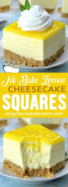 Easy No Bake Lemon Cheesecake Bars with graham cracker crust and lemon curd topping is light and refreshing spring or summer dessert recipe, and perfect addition to Easter table. Desserts No Bake Lemon Cheesecake Bars Lemon Cheesecake Recipes, Lemon Desserts, Lemon Recipes, No Bake Desserts, Easy Desserts, Delicious Desserts, Keto Cheesecake, Lemon Curd Dessert, Summer Cheesecake