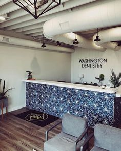Loving the juxtaposition of cement tile and wood in this beautiful office space by 🦷. Not sure if you can pull this… Blue Interiors, Encaustic Tile, Blue Tiles, Stone Tiles, Cement, Design Inspiration, Flooring, Patterns, Interior Design