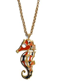 Clothes Seahorse Necklace - Gold, Red, Black, Casual, Statement