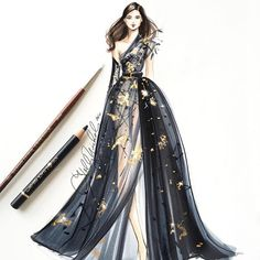 A black and gold @eliesaabworld sketched with @copicmarker and @goldenpaints #eliesaabcouture #eliesaab…