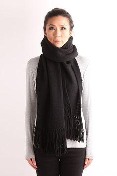 Oversized knit scarf fringe knit scarf long knit scarf by VONANA