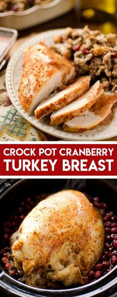 Crock Pot Turkey Breast with Cranberry Sauce is a delicious slow cooker recipe perfect for a small crowd at the holidays. A small breast is cooked and infused with a homemade cranberry sauce for amazing flavors! Best Slow Cooker, Slow Cooker Recipes, Gourmet Recipes, Crockpot Recipes, Cooking Recipes, Drink Recipes, Sweet Recipes, Slow Cooking, Dessert Recipes