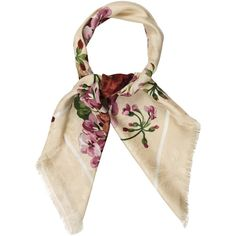 Pre-owned Gucci Blooms Jacquard Scarf (730 SAR) ❤ liked on Polyvore featuring accessories, scarves, neutrals, print scarves, floral shawl, patterned scarves, colorful scarves and floral scarves