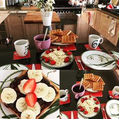 Brunch or call it breakfast at home! With strawberry, banana and chocolate waffles.