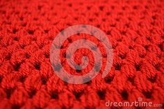 Fabric Texture Puff Crochet Stitches - Red crocheted yarn textured fabric with puff stitches technique..