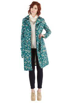 Melodic Morning Coat in Floral. Don this darling, double-breasted trench coat and sing as you stroll! #blue #modcloth