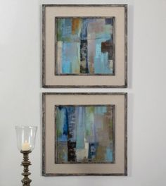 Prints are accented by reclaimed wood, inner and outer frame edges with a medium brown base color and slate blue and taupe paint distressing. Frame's middle section is an open weave, taupe linen mat.  Designer: Grace Feyock  Dimensions: 35 W X 35 H X 1 D (in)  www.garbes.com