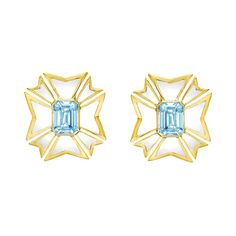 Estate Verdura Maltese Cross Aquamarine & White Enamel Earrings Maltese Cross aquamarine and white enamel enamel earrings in 18k yellow gold. Two emerald-cut aquamarines weighing 2.71 total carats. Clip backs (posts may be added upon request). Dimensions: 21 x 19mm (small version). Signed Verdura.