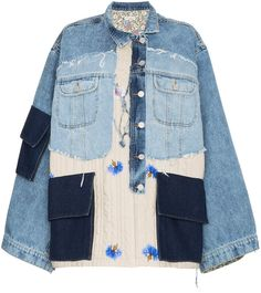 Check out Natasha Zinko with over 1 items in stock. Shop Natasha Zinko oversized patchwork quilted cotton denim jacket today with fast Australia delivery and free returns. Jean Jacket Outfits, Women's Denim Outfits, Estilo Jeans, Denim Ideas, Denim Patchwork, Creation Couture, Quilt Pattern, Denim Fashion, Look