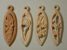 Wooden pendants carved with a knife