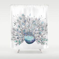 Artistic Peacock Shower Curtain - Peacock-  Watercolor Art, Blue bathroom, art, decor, bath, gift,  home