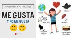 Me gusta y no me gusta & Elementary Spanish, Spanish Class, Teaching Spanish, Spanish Interactive Notebook, Interactive Notebooks, Likes And Dislikes, Spanish Art, Spanish Activities, Types Of Music