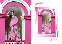 Buy this Exclusive Pink & Navy Blue Chiffon Designer Saree along with Rawsilk Navy Blue Coloured Blouse from #Laxmipati. 100% genuine products guaranteed. Limited Stock!