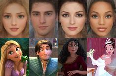 """""""Here's What Your Favorite Disney Princess Would Look Like in Real Life!""""   """"Israeli artist Karen Graw, who works under the name 'Avalonis', has brought to life the characters that have captivated millions of us in these incredible illustrations.""""   (Left to Right) Rapunzel, Flynn Rider, Mother Gothel, Tiana."""