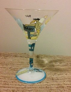 """""""IT'S A BOY"""" Stork Baby Shower Theme Martini Glass Drinking Gift for Mother"""