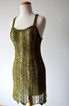 Summerdress. Moss Green Hand Knit Flapper Dress. Summer Lace.  Hand Knit Minidress Sheer Mini Dress Summer Beach Coverup Boho Festival Dress...
