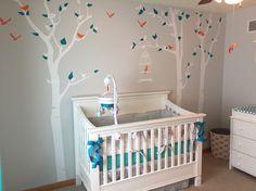 Baby boy nursery (gray, turquoise, orange) crib, tree wall decals