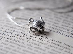 Sterling Silver Teapot Necklace Alice in Wonderland Themed Jewelry Accessory