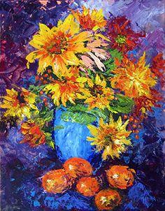 """Sunflowers by Marina Petro Acrylic ~ 16"""" x 12"""""""