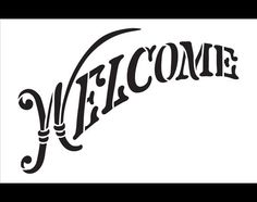 Welcome Word Stencil  Elegant Country Arched  14 X 9 por StudioR12