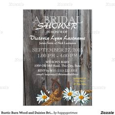 Rustic Barn Wood and Daisies Bridal Shower 5x7 Paper Invitation Card
