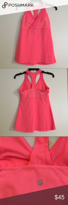 "Lululemon deep breath tank Coral/peach deep breath tank. Cute crossover front, shelf bra with space to add pads, luon light material. Excellent condition! Length is 25"". bundles lululemon athletica Tops Tank Tops"