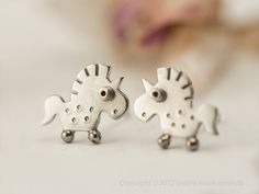 UNICORN Stud Earrings Sterling Silver Mini Zoo series by karramba, $24.00  Everything from this shop, literally