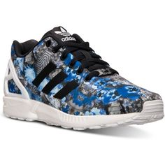 adidas Men's Zx Flux Floral Print Running Sneakers from Finish Line ($70) ❤ liked on Polyvore featuring men's fashion, men's shoes, men's sneakers, mens sneakers, mens retro shoes, mens shoes, mens running sneakers and mens running shoes
