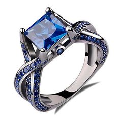 2.0ct Princess Cut Created Blue Sapphire Engagement Ring 14k Black Gold Rhodium Plating Over Sterling Silver 925 Ring Size 5 by Caperci