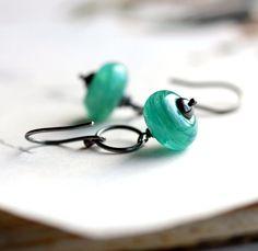 Teal Earrings Glass Bead Earrings with Aqua Blue Lampwork Glass with Sterling Silver Hoops - Riptide
