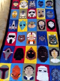 To help you keep warm when you get back home, how about this great Star Wars Afghan by devilduck on Craftster. The amount of detail in each section is amazing! I especially love the fuzzy yarn used for Chewbacca's face! It's so much nicer than wrapping yourself a dead tauntaun, right?