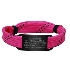 RaceLACE IDmeBAND - Pink. Custom Engraved, adjustable running ID bracelet. $19.99