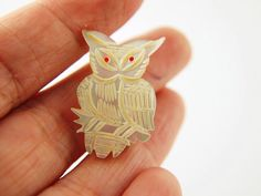 Mother of Pearl Owl Pendant  Vintage by VintageParis on Etsy, $22.00