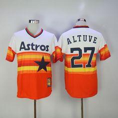 Houston Astros Altuve 2017 New White Orange Throwback Cool Base Men MLB  Stitched Jersey 59645f50d