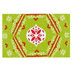 KESS InHouse Miranda Mol 'Snowjoy Green' Red Dog Place Mat, x * Additional details at the pin image, click it : Dog food container Dog Food Container, Fabric Placemats, Dog Items, Red Dog, Pin Image, Table Linens, 5 D, Graphic Art, Outdoor Blanket