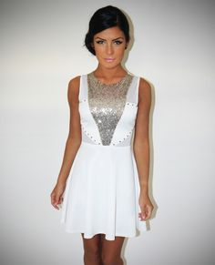 Courtney White Sequin and Stud Skater Dress | Pink Boutique