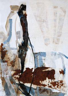 """""""Am Fluss"""", Maße: 70x50x2cm, Collage aus Papier auf MDF-Platte, 2013 von Katja Gramann #collagen #collage #collageart #collageartist #interior #interiordesign #interiordesignideas #ambiente #paintings #abstractpainting #contemporaryart #wohnen #einrichten #livingroom #creative #art #artwork #kunstwerk #paperart #wohnzimmer #livingroomart #turquoise #shadows #informel #abstraktekunst #abstrakt #abstractart #colours"""