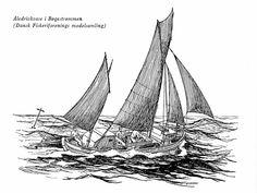 """Åledrivkvase i Bøgestrømmen. Dansk Fiskeriforenings modelsamling. Vignet af H. Schøsler-Pedersen i """"Høst fra havet"""", 1960. Voddet spændes ud mellem for- og agterbom."""