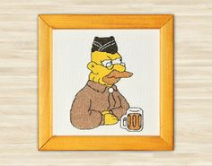 Abe Simpson wall home decor picture TV Show by TimeForStitch