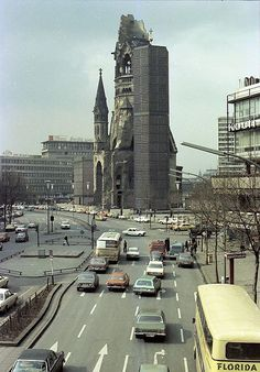 1979 West Berlin - Kaiser Wilhelm Memorial Church from the pedestrian bridge . Gedächtniskirche Berlin, Berlin Photos, Berlin City, West Berlin, Berlin Wall, Berlin Photography, City Photography, East Germany, Berlin Germany