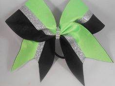 Cheer Bow Lime Green Silver Glitter Black by blingitoncheerbowz by BlingItOnCheerBowz on Etsy (null)