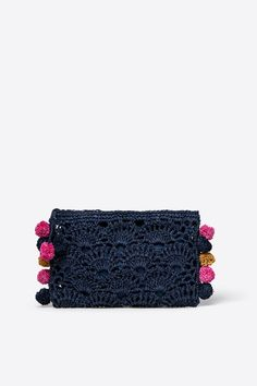 Womensecret Pom pom crochet pouch, blue